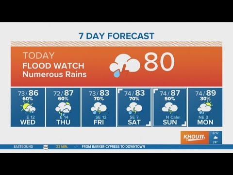 Houston Forecast: Flash Flood Watch continues through Tuesday evening