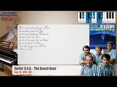 Surfin' U.S.A. - The Beach Boys Piano Backing Track with chords and lyrics