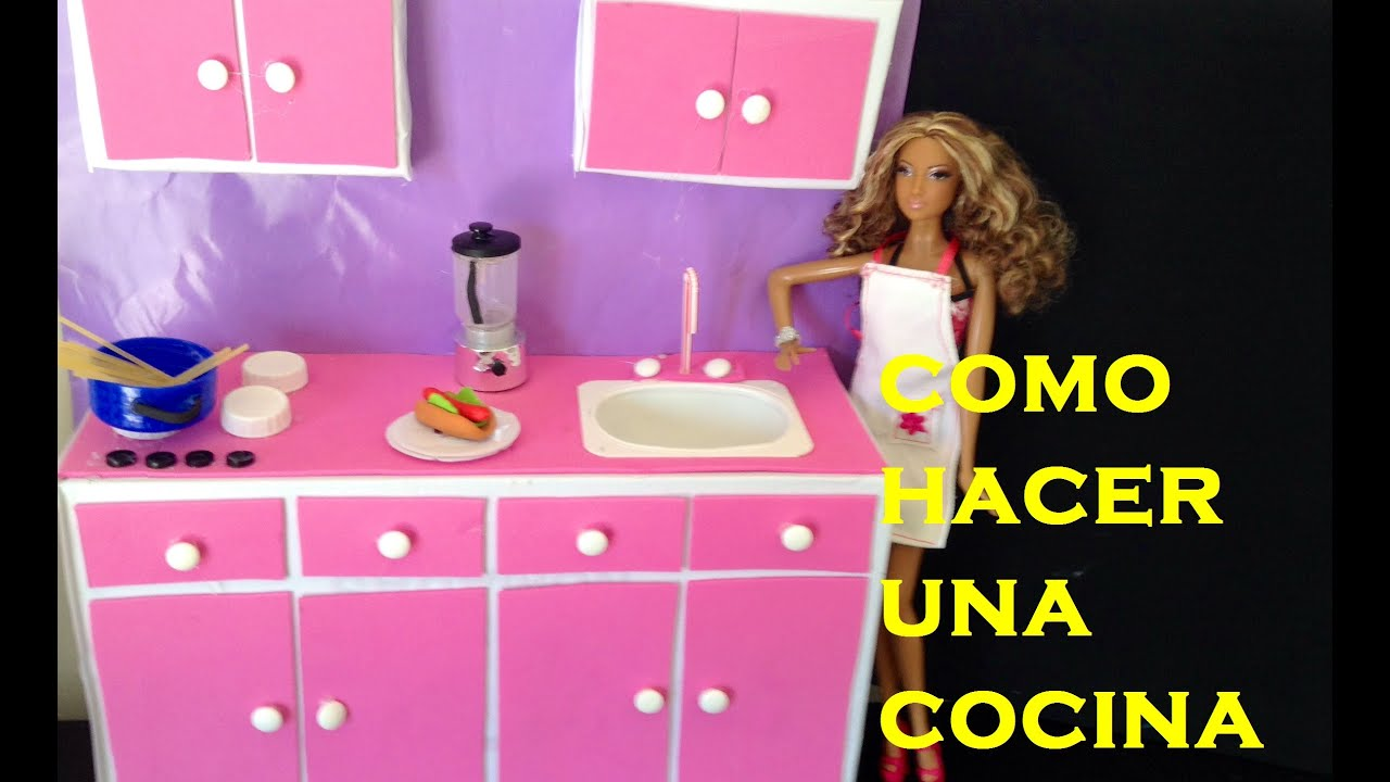 COMO HACER UNA COCINA PARA TUS MUÑECAS/ HOW TO MAKE A KITCHEN FOR DOLLS