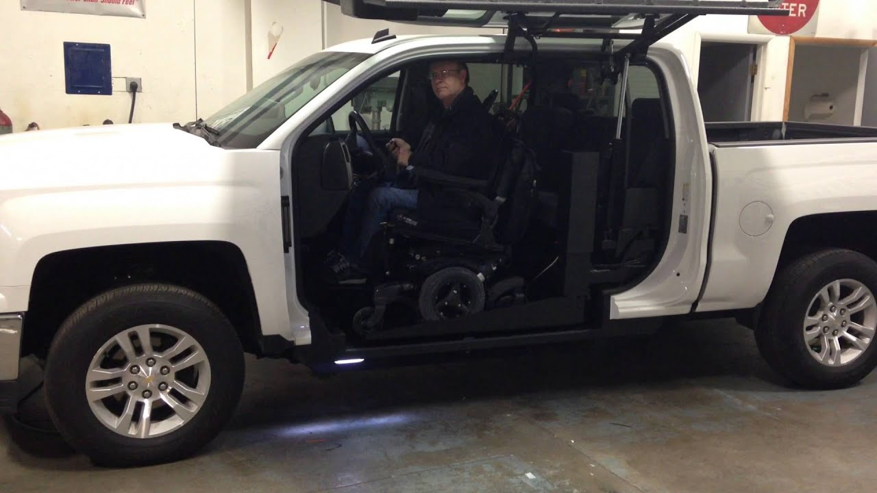 Wheelchair Lift For Truck Cross Back Dining Chairs White Trucks Accessible Driver Youtube