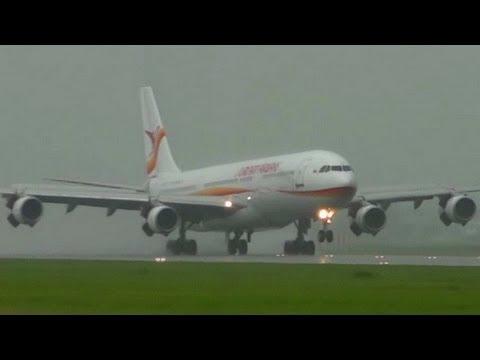 A340 SLM PZ-TCP Super wet landing at AMS Schiphol