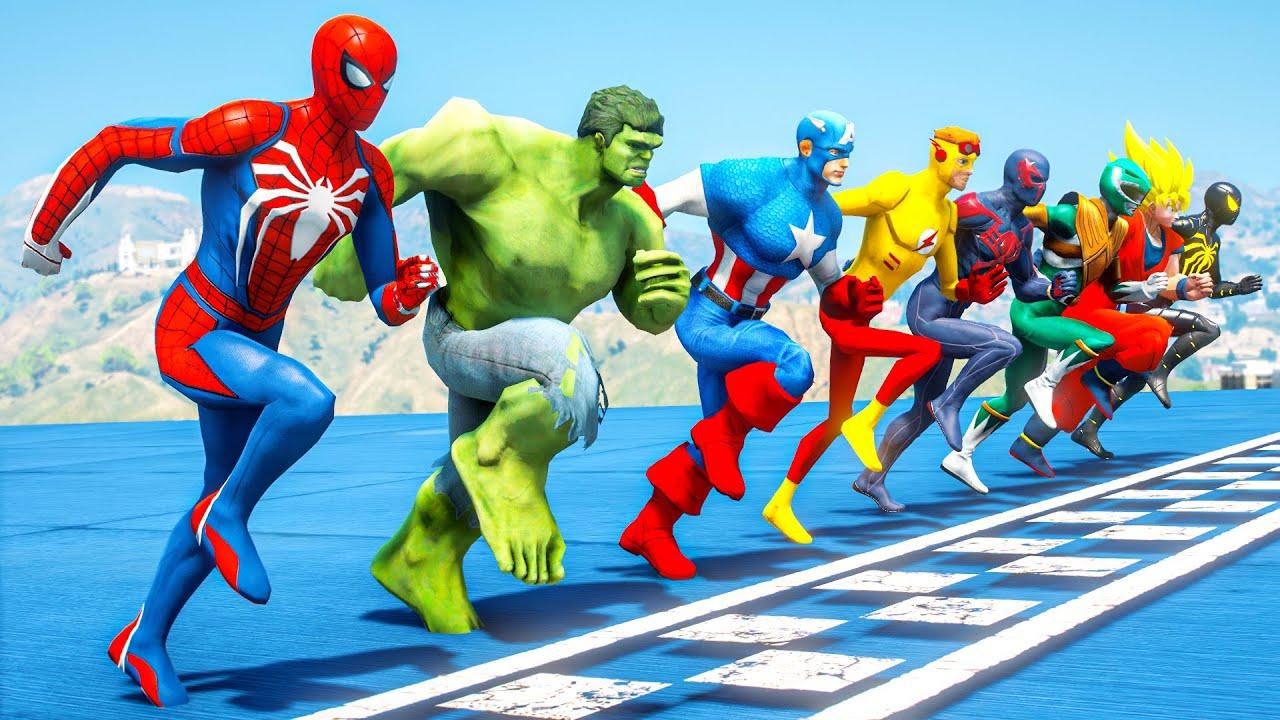 Download Spiderman w/ Superheroes Running Challenge (Funny Contest Gta 5) #205