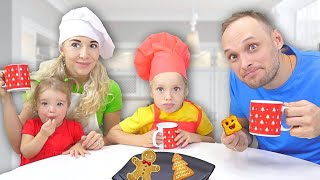 Lev and family pretend play in prepare Breakfast for dad. Education video for kids