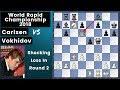 Carlsen's Horror Start: Zero on Two - Carlsen vs Vokhidov| World Rapid Championship 2018 Rd.2