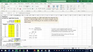 P chart- Example using excel