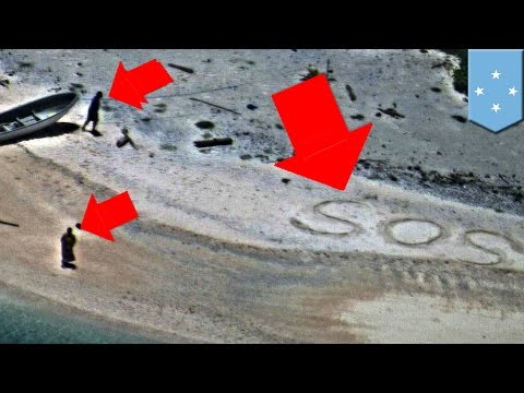 Stranded on a desert island: Couple rescued writing SOS on beach - TomoNews