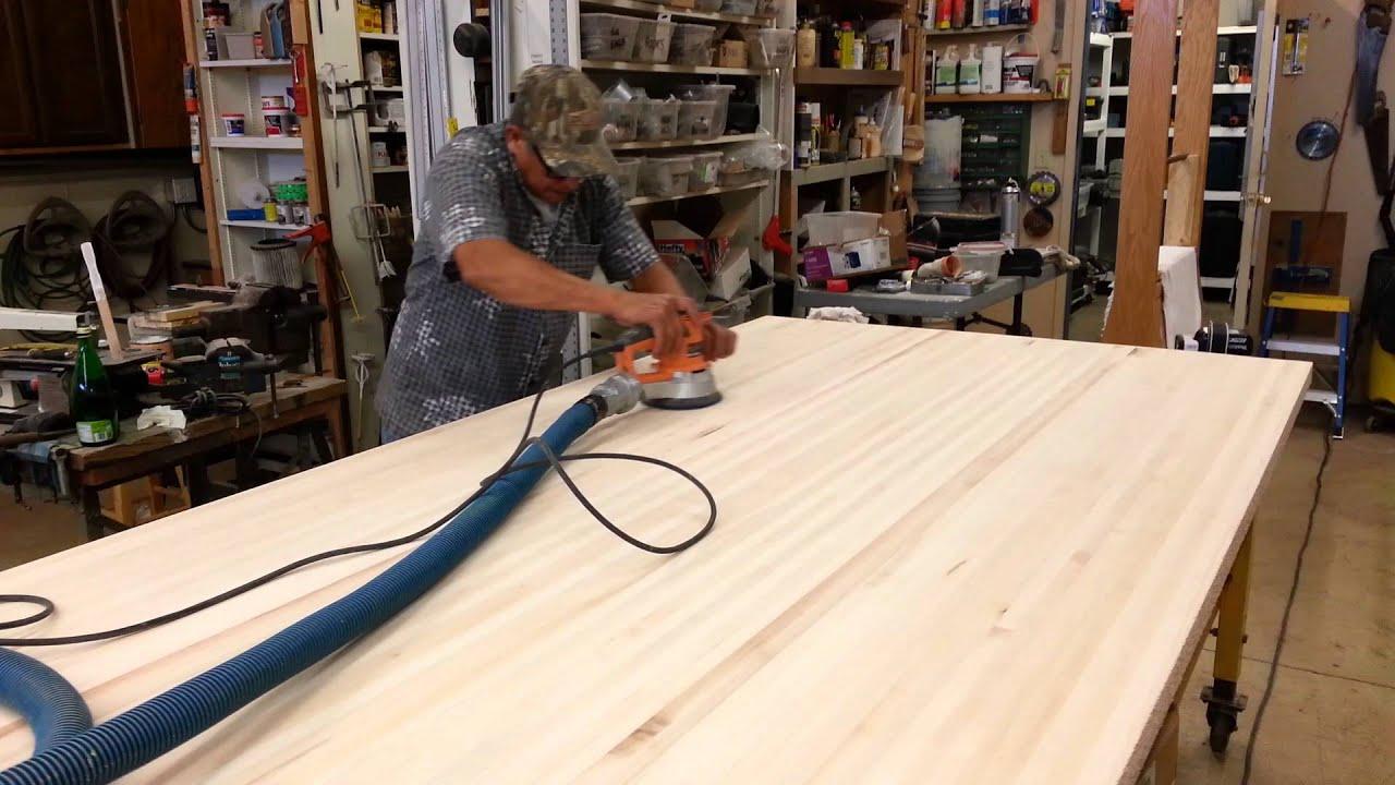 Sanding Butcher Block Counter Top At Porter Construction