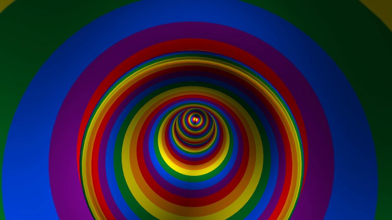 4k Hypnotic Rainbow Tunnel Spin 2160p Free Motion