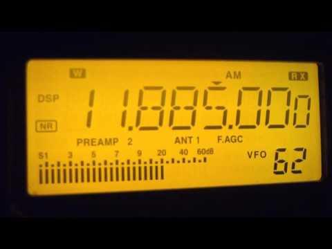 11885 kHz China Radio International , in English Language ,  Xian , China