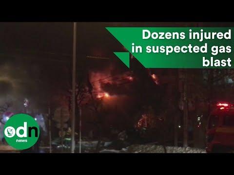 Dozens injured in suspected gas blast