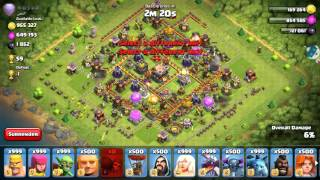 Clash Of Clans : COC : 500 wall breakers wb attack vs th11 wall 11 of top most player OMG
