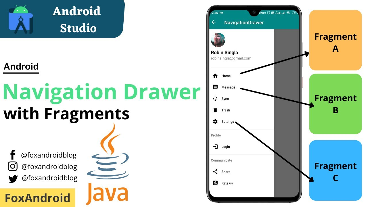 Navigation Drawer with Fragments in Android Studio|Java | Fragments with Navigation Drawer