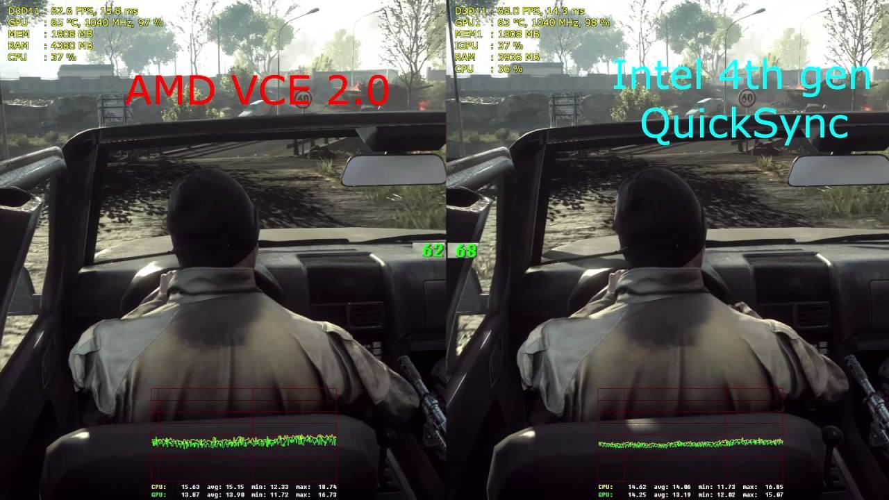AMD VCE 2 vs  Intel Quicksync 3 (1080@60fps performance)
