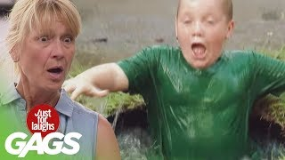 Kid Falls into Puddle Prank - Just For Laughs Gags