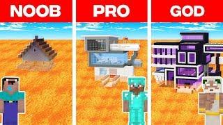 Minecraft NOOB vs PRO vs GOD: MODERN HOUSE ON LAVA BUILD CHALLENGE in Minecraft! (Animation)