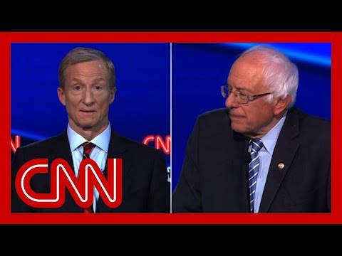 Bernie Sanders said billionaires shouldn't exist. See billionaire's response During the Democratic presidential debate, Sen. Bernie Sanders (I-VT) and billionaire businessman Tom Steyer discuss their plans for closing the wealth gap., From YouTubeVideos