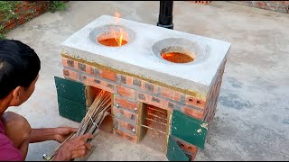 Building Simple Outdoor Smokeless Firewood Stove \ DIY traditional firewood stove