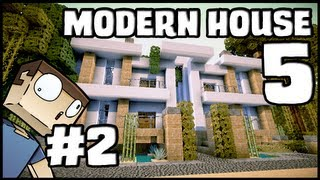 Minecraft Lets Build: Modern House 5 - Part 2