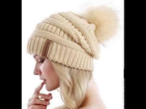 d16989b464a4c2 QUEENFUR Women Knit Slouchy Beanie Chunky Baggy Hat with Faux Fur Pompom Winter  Soft Warm Ski Cap