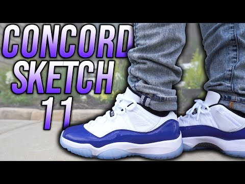 Air Jordan 11 Low Concord Sketch Review And On Foot In 4k Youtube