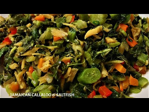 Jamaican Style Callaloo And Saltfish | Recipe For Cooking Callaloo The Jamaican Way | Jerene's Eats