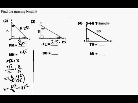 Finding the Side Lengthes of Special Right Triangle - YouTube