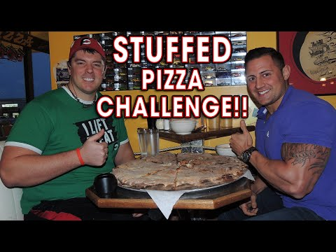 "MAN VS FOOD 22"" STUFFED PIZZA CHALLENGE!!"