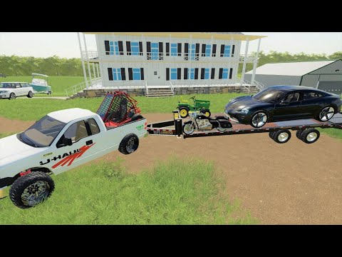 Using U-Haul to move Millionaires to a mansion   Farming Simulator 19  