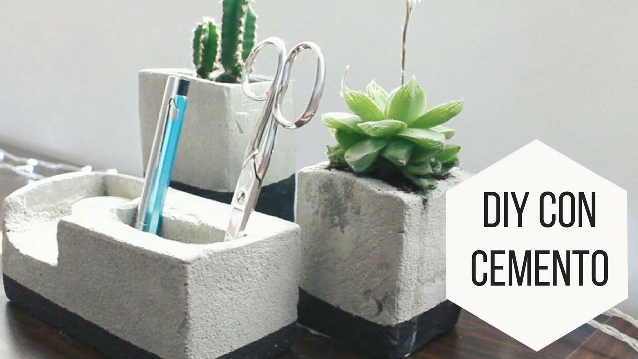 Diy con cemento macetero y lapicero helen dressler diy - Maceteros de cemento ...