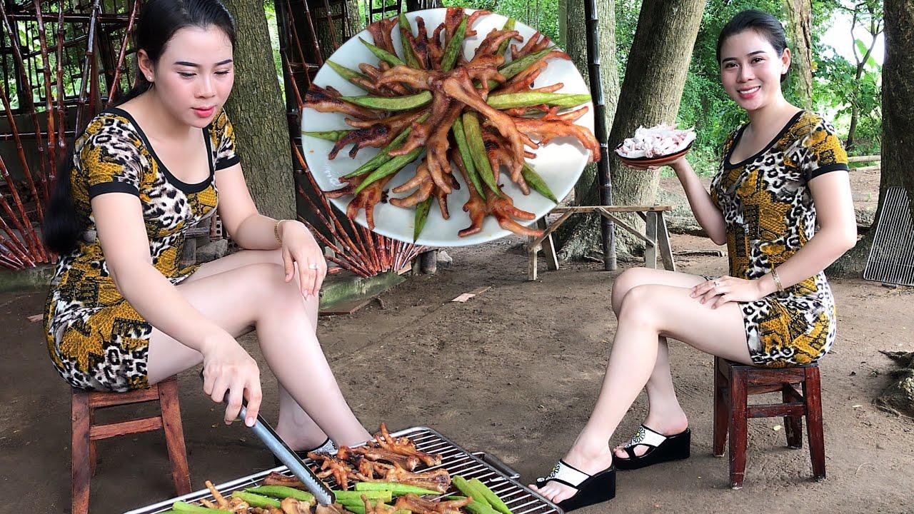 Grilled Chicken Feet With Char Siu Sauce/Chân Gà Nướng Xá Xíu/Yumi Daily Life