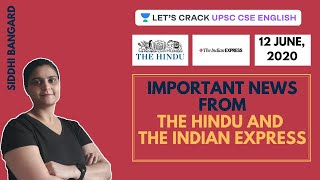 12th June: Important News from The Hindu and The Indian Express | UPSC CSE/IAS 2020 | Siddhi Bangard