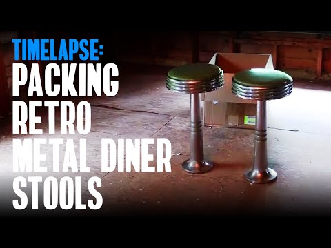 Time Lapse: Packing & Shipping Heavy Retro Metal Diner Stools