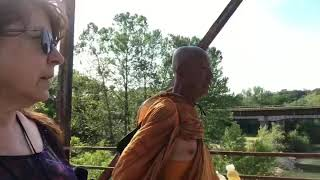 Monk Sutham Nateetong walks for Peace Across the Route 66 Gasconade River Bridge