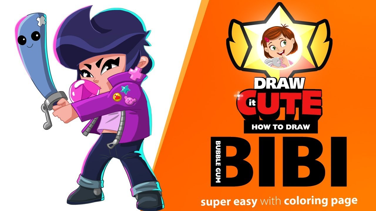 How to draw bubble gum bibi super easy brawl stars drawing tutorial with coloring page