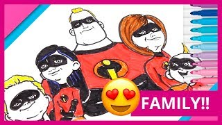 THE INCREDIBLES 2 💪 How to draw and color the incredible or The Incredibles Family