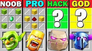 MINECRAFT BATTLE: NOOB VS PRO VS HACKER VS GOD CRAFT CLASH OF CLANS - FUNNY MINECRAFT TROLLING MAPS!