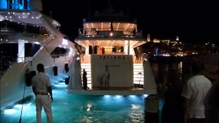 The Amazing US$ 12,500,000 Superyacht Tatiana entering Port de Cannes at night