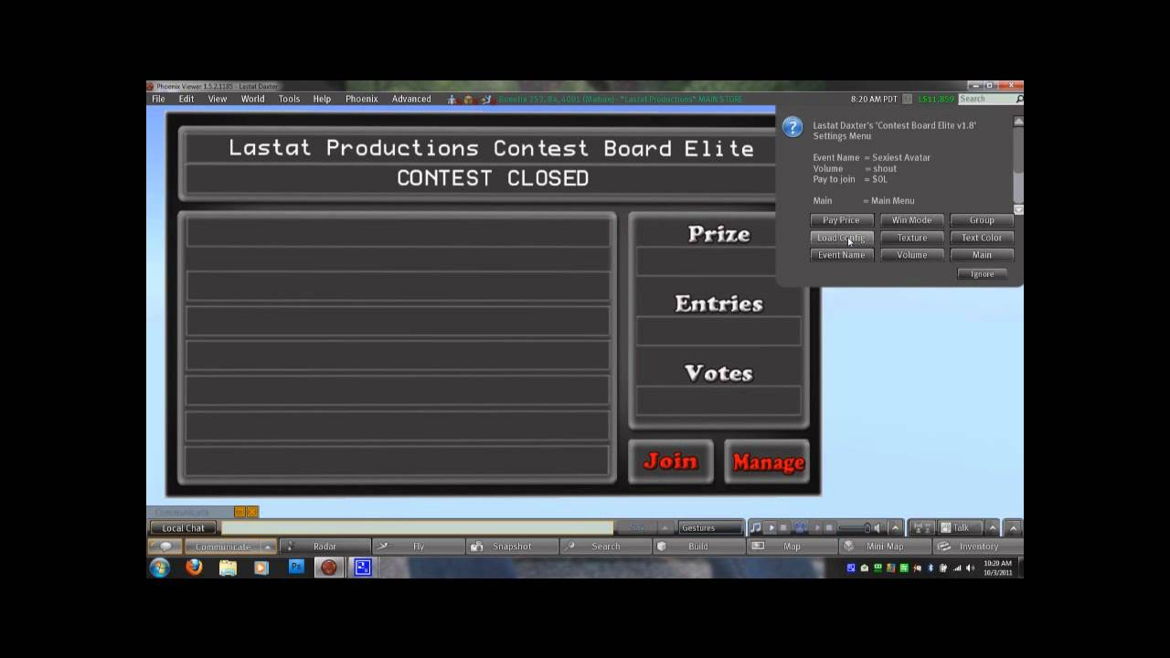 Lastat Productions Contest Board Tutorial for Second Life