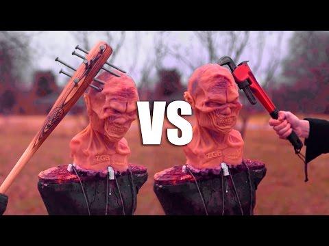 SPIKED BAT VS MODIFIED PIPE WRENCH! ZOMBIE WEAPONS SHOWDOWN! Zombie Go Boom! LEWZ!