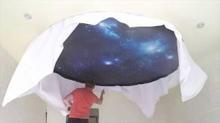 Натяжной потолок Звездное небо 400 звезд 1 падающая