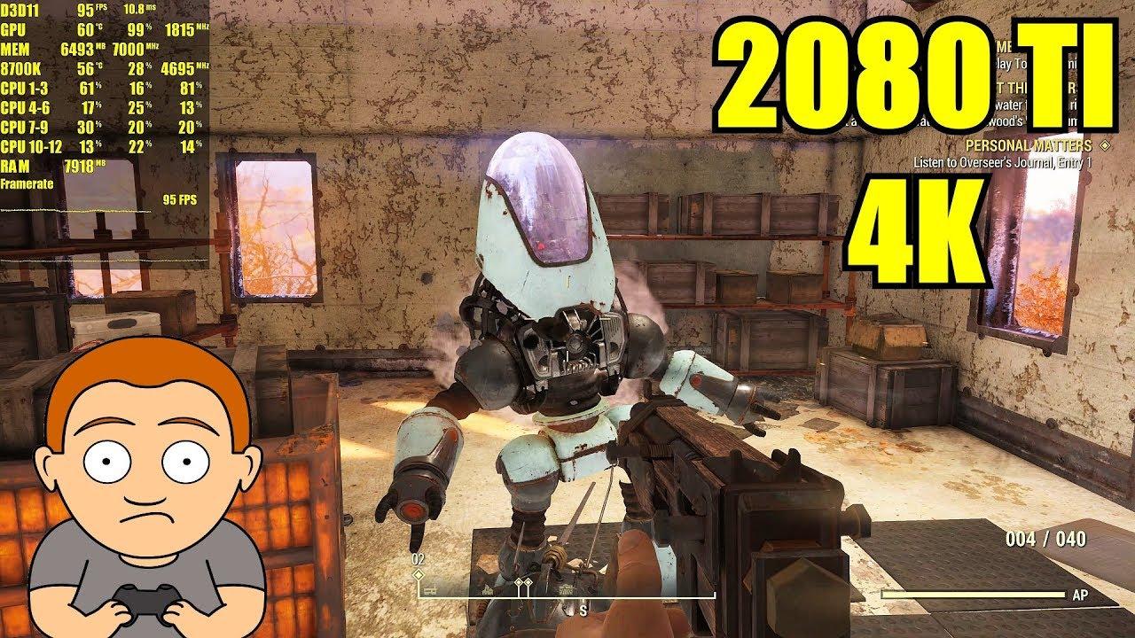Fallout 76 Beta Ultra 4K RTX 2080 TI Frame Rate Performance Test