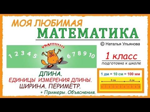 Длина. Единицы измерения длины. Ширина. Периметр. Измерение длины. Примеры. Математика 1 класс.