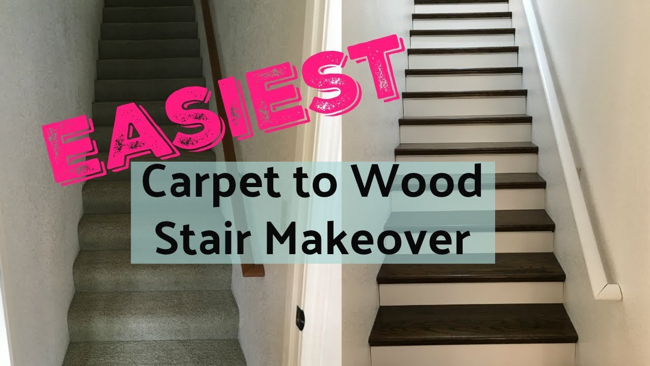 Stair Makeover Easy Remodel Diy Youtube | Converting Carpeted Stairs To Wood | Stair Tread | Staircase Makeover | Laminate Flooring | Wood Flooring | Risers