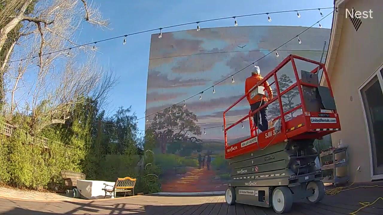 Backyard Retaining Wall Mural