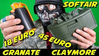 SOFTAIR M18A1 CLAYMORE ANTIPERSONENMINE + HANDGRANATE FÜR 45/18 EURO [GUTE ALTERNATIVE ?]