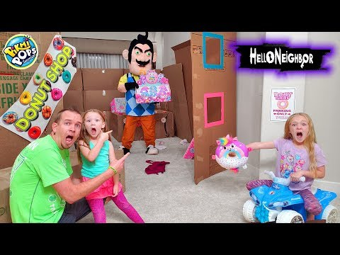 Hello Neighbor in Real Life Breaks Our Box Fort! Pikmi Pops Doughmi Toy Scavenger Hunt!