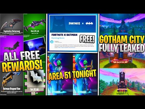 *NEW* Fortnite Batman FREE Youtube Rewards! Entire Gotham City Leaked Gameplay, & Area 51 Skin Today