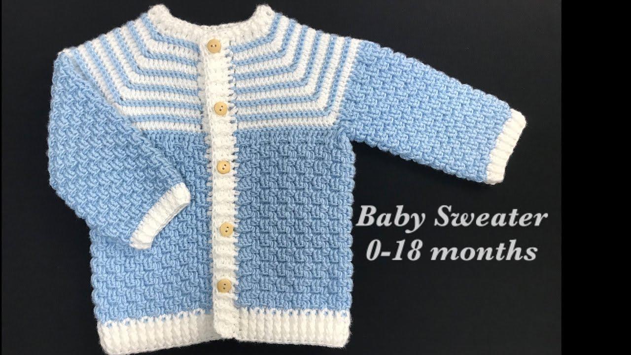 Crochet baby Sweater, Crochet Jacket or Crochet Coat, Crochet for Baby LEFT HAND VERSION