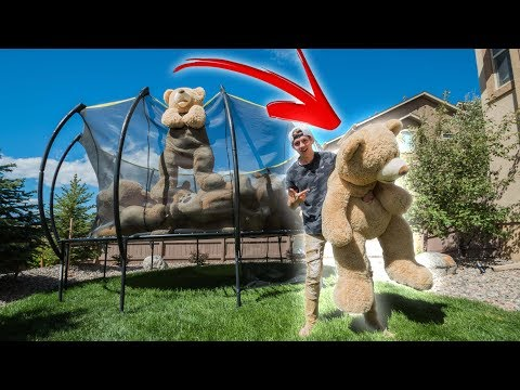 TRAMPOLINE FILLED WITH GIANT TEDDY BEARS!! *CRAZY TRAMPOLINE TRICKS*
