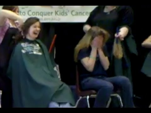 3 Girls Cut And Shave Hair For Charity